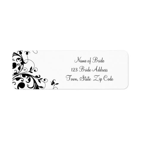 wedding return address labels template black white swirl wedding return address label zazzle