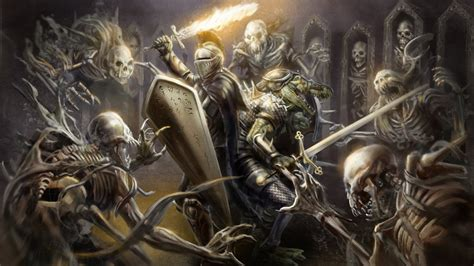 full hd wallpaper skeleton attack knight crypt fire sword