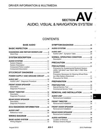 free car manuals to download 2012 nissan pathfinder on board diagnostic system download 2012 nissan pathfinder audio visual system section av pdf manual 438 pages
