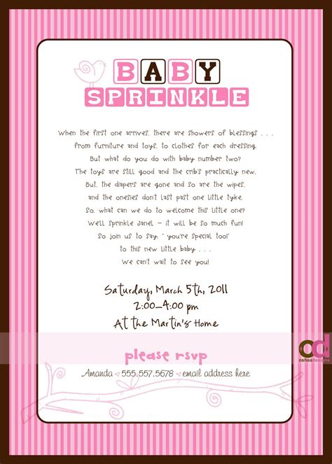 quot sprinkle quot invitations wording wish i would have found