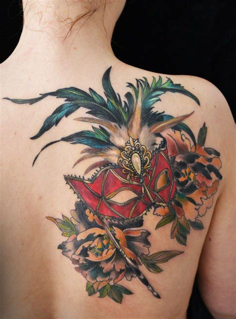 mardi gras mask tattoo venetian mask on back shoulder photo 1 tattoos