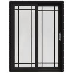 Lowes Sliding Glass Patio Doors Shop Jeld Wen W 2500 59 25 In Grid Glass Black Wood Sliding Patio Door With Screen At Lowes