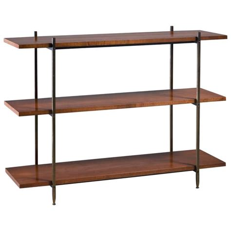 milo baughman walnut and brass bookshelf usa 1950s at