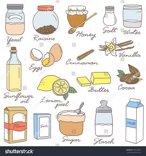 doodle food icons vector collection ingredients baking big stock vector