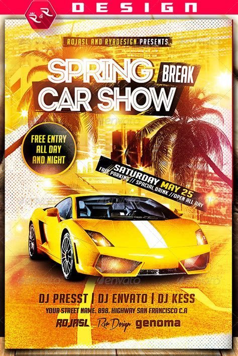 spring break car show flyer on behance carwash menu