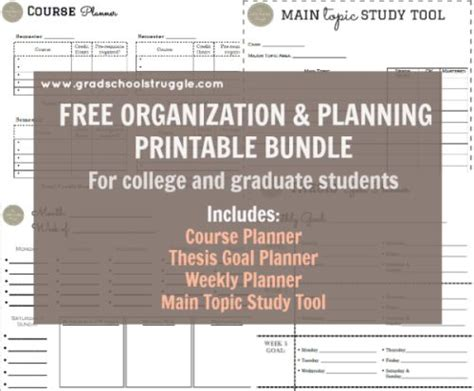printable planner bundle free printable bundle for students includes the
