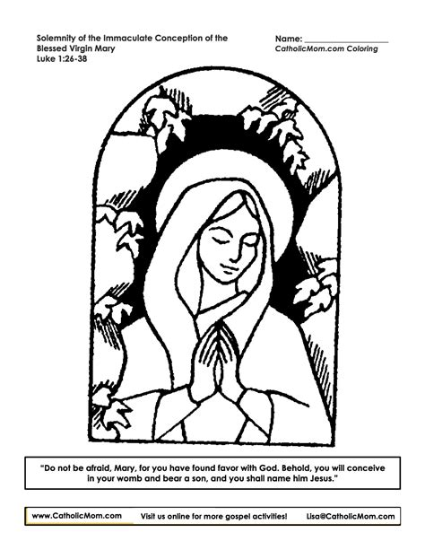 free coloring pages of immaculate conception