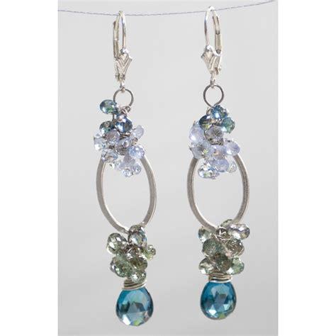 dangly earring aaa blue topaz green blue sapphire dangle earrings violet cottage