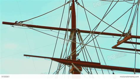ship rigging masts and rigging of three masted sailing ship over the