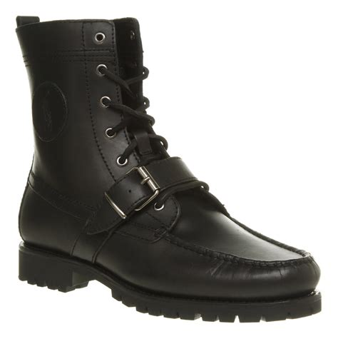 ralph boots for lyst ralph ranger lace boot black leather