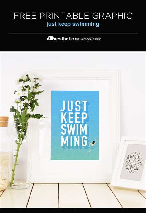 just keep swimming wall decor free print paper trail design remodelaholic free printable just keep swimming