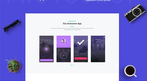 download mobile app website template psd free