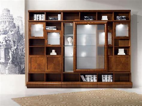 Modular library display cabinet, in walnut, sliding doors