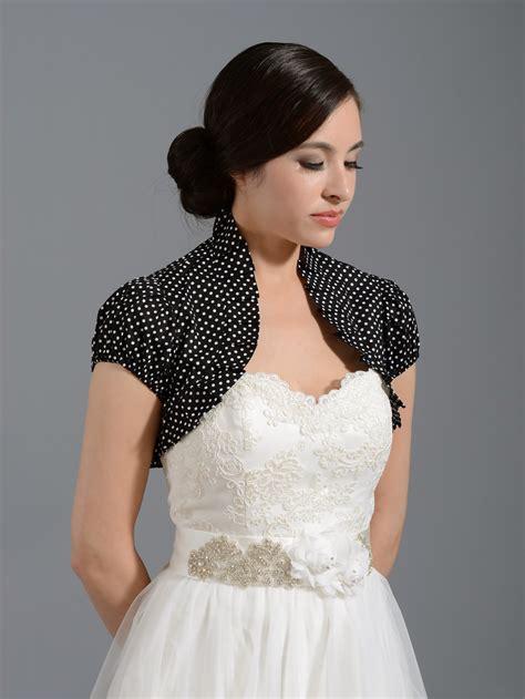 small jacket black cotton wedding bolero jacket polka dot cotton 002 black