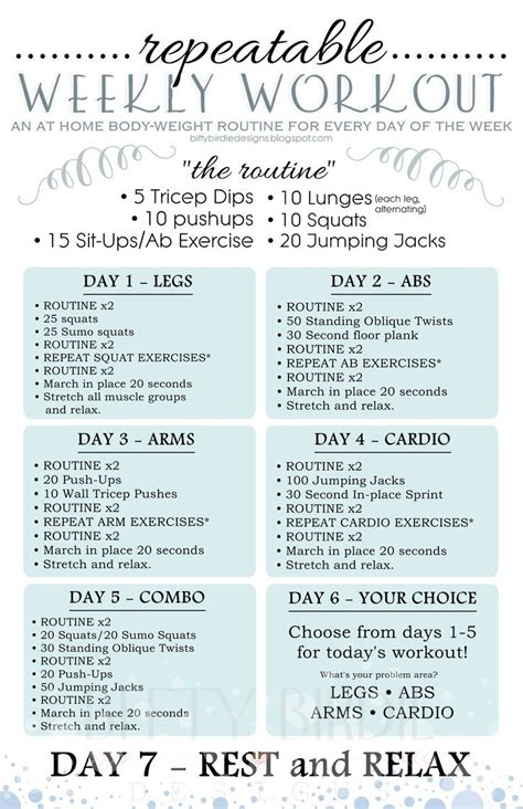 best 25 weekly workout plans ideas on weekly