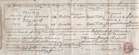 Islington Marriage Records Barnes Family History
