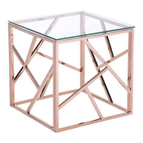 Geranium Modern Side Table Rose Gold