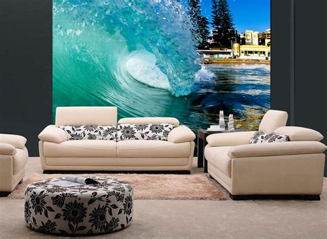 removable wall murals barreling wave surfing wall mural and removable sticker