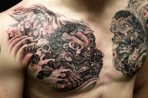 foo dog on chest tattoo chronic ink