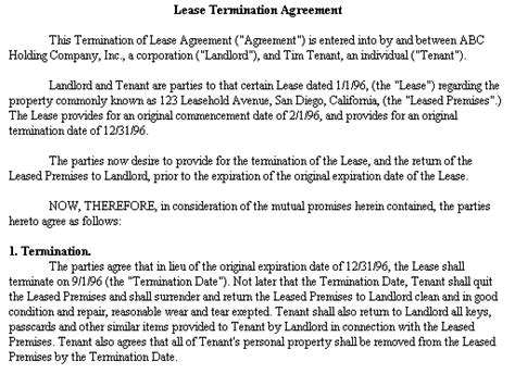 Apartment Lease Buyout Letter Exle Document For Lease Termination Agreement