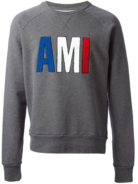 Sweater Hoodie Ryse Of Rome Front Logo ami embroidered logo sweatshirt in gray for lyst