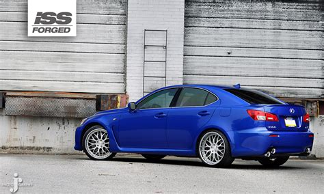 lexus isf blue lexus is f on iss forged spyder blue iss forged