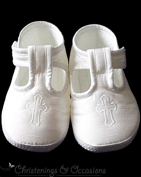 baby boys christening baptism shoes in white with cross