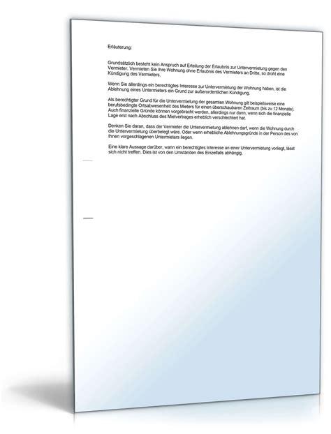 Antrag Untervermietung Vorlage Formloser Antrag Untervermietung Vorlage Zum