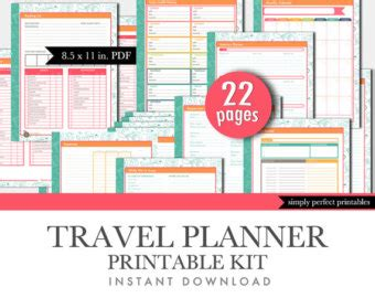 travel planner printable pdf travel planner etsy