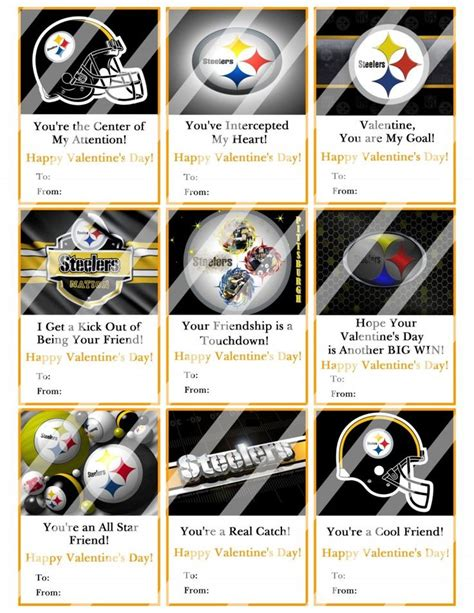 steelers valentines day gifts pittsburgh steelers valentines day cards sheet 4 instant