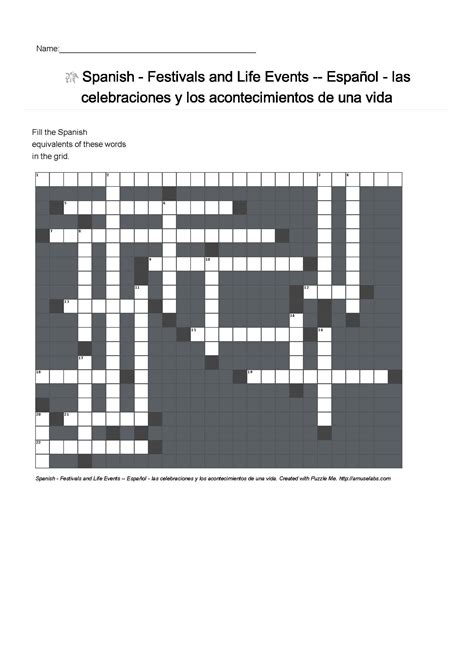 edmodo puzzle spanish vocabulary festivals and life events crossword