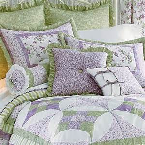 Shabby Chic Shams by 9p Queen Comforter Quilt Set Lilac Lavender Sage Green 3
