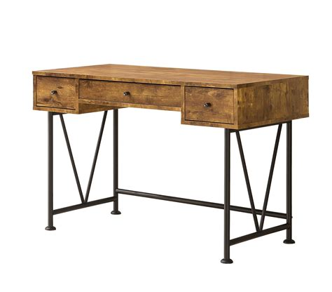 industrial style desk with drawers industrial style writing desk with 3 drawers by coaster