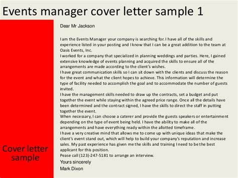 Letter For Events Management Events Manager Cover Letter