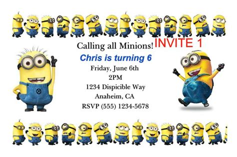 free printable minion invitation template pinterest discover and save creative ideas