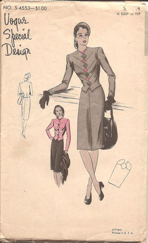 zig zag sewing pattern 1940s vogue special design womens suit with zigzag by