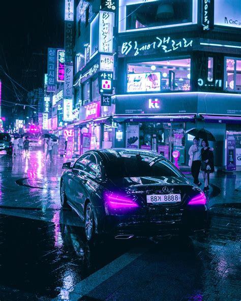 cyberpunk neon  futuristic street   seoul