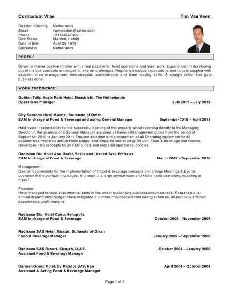 new resume format for hoteliers cv tim veen