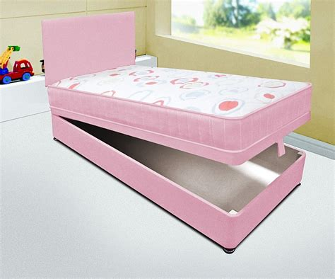Ottoman Beds With Mattress Single 3ft Pink Ottoman Divan Bed With Quilted Mattress Headboard Ebay
