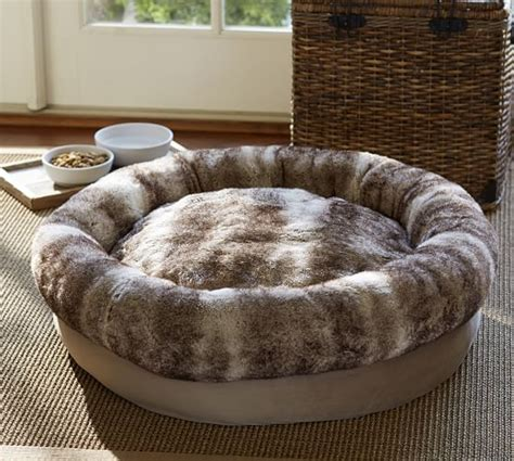 fur dog bed faux fur bolster dog bed pottery barn