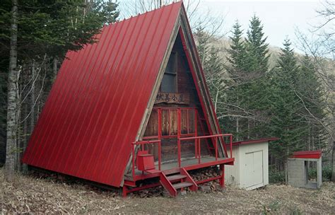 a frame small red a frame hut tiny house swoon