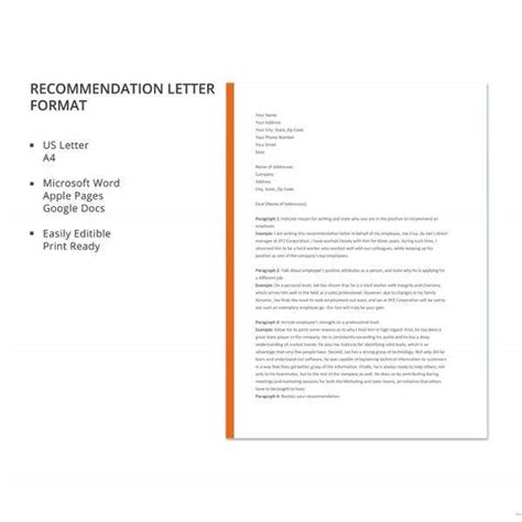 employee recommendation letters