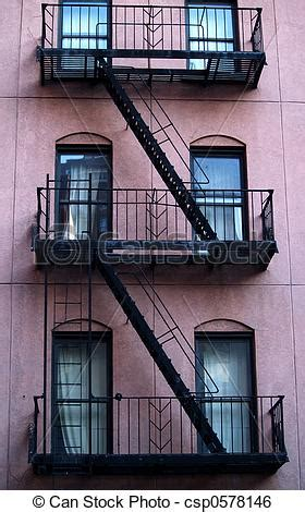stock image of escape ladder new york building