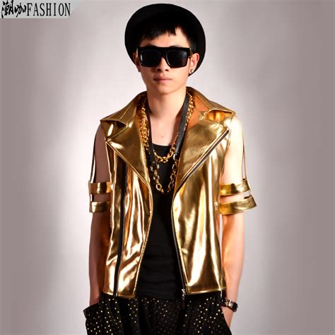 2015 men s fashion jacket Gold cutout short sleeve