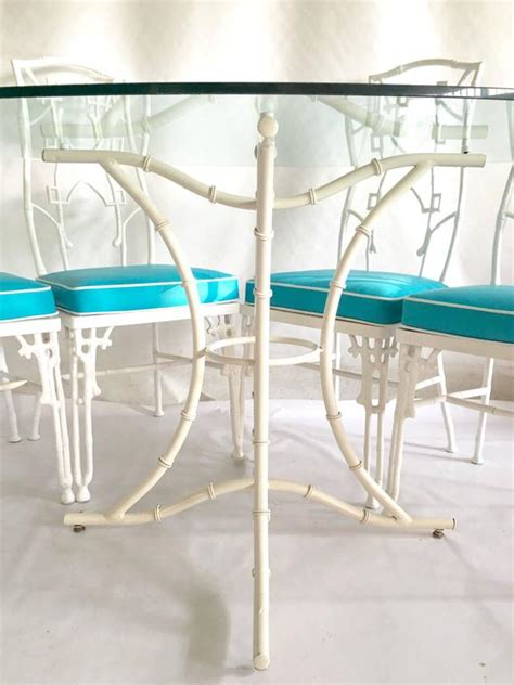 bamboo glass table and chairs 1960s faux bamboo six cast iron glass top table and