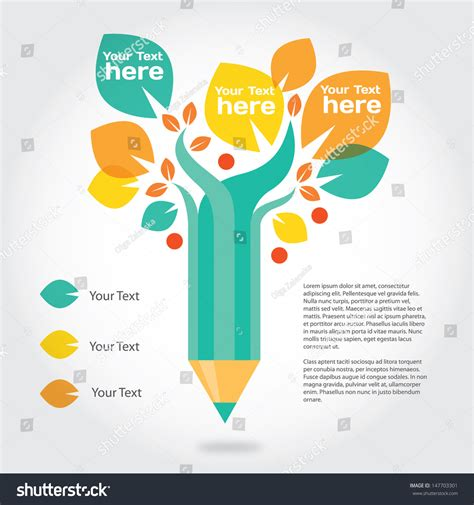 vector pencil design elements pencil tree info graphic about education stock vector