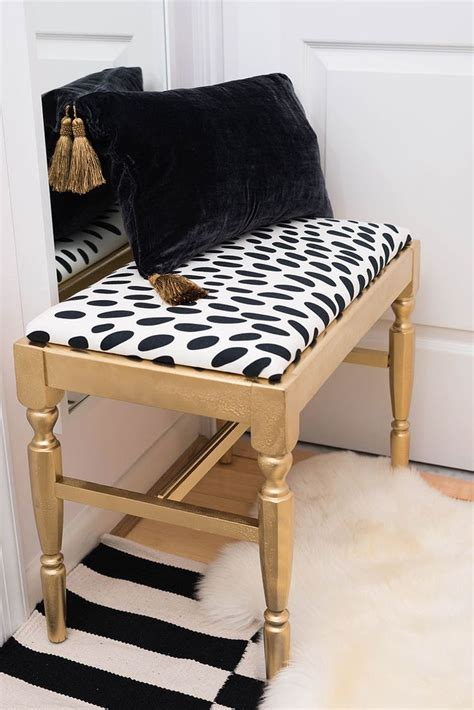 Diy Bedroom Bench Diy Bench Black And White Gold Spray Paint Small Chic