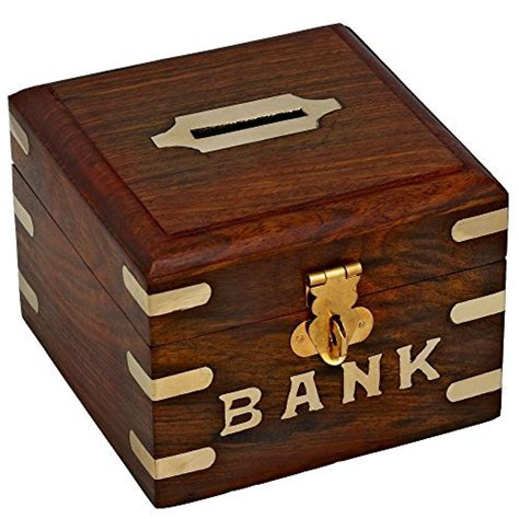 bank box safe money box wooden piggy bank for boys and adults