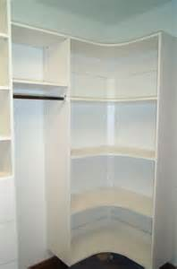 Walk in closet corner shelves home design ideas