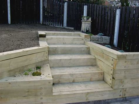How To Build Steps With Railway Sleepers by Wall Made With Railroad Tie Magic Garden S Landscaping